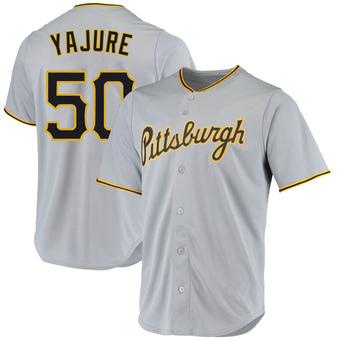 Men's Miguel Yajure Pittsburgh Gray Replica Road Baseball Jersey (Unsigned No Brands/Logos)