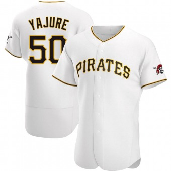 Men's Miguel Yajure Pittsburgh White Authentic Home Baseball Jersey (Unsigned No Brands/Logos)