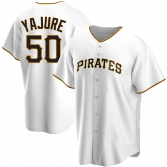 Men's Miguel Yajure Pittsburgh White Replica Home Baseball Jersey (Unsigned No Brands/Logos)