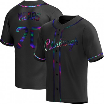 Men's Nick Mears Pittsburgh Black Holographic Replica Alternate Baseball Jersey (Unsigned No Brands/Logos)
