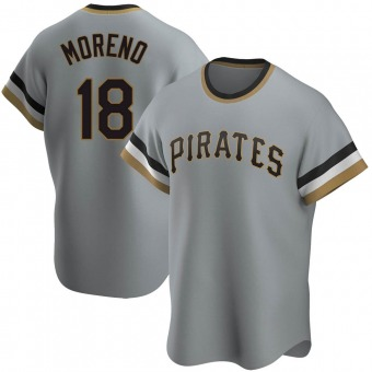 Men's Omar Moreno Pittsburgh Gray Replica Road Cooperstown Collection Baseball Jersey (Unsigned No Brands/Logos)