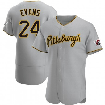 Men's Phillip Evans Pittsburgh Gray Authentic Road Baseball Jersey (Unsigned No Brands/Logos)