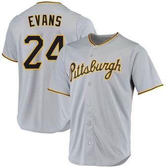 Men's Phillip Evans Pittsburgh Gray Replica Road Baseball Jersey (Unsigned No Brands/Logos)