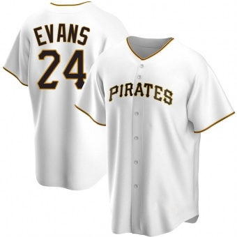 Men's Phillip Evans Pittsburgh White Replica Home Baseball Jersey (Unsigned No Brands/Logos)