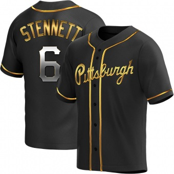 Men's Rennie Stennett Pittsburgh Black Golden Replica Alternate Baseball Jersey (Unsigned No Brands/Logos)