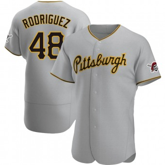 Men's Richard Rodriguez Pittsburgh Gray Authentic Road Baseball Jersey (Unsigned No Brands/Logos)