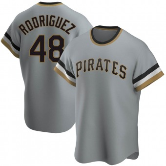 Men's Richard Rodriguez Pittsburgh Gray Replica Road Cooperstown Collection Baseball Jersey (Unsigned No Brands/Logos)