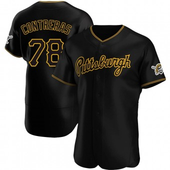 Men's Roansy Contreras Pittsburgh Black Authentic Alternate Team Baseball Jersey (Unsigned No Brands/Logos)