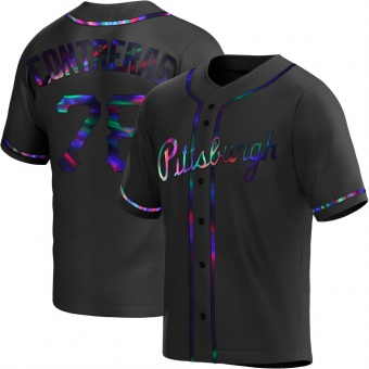 Men's Roansy Contreras Pittsburgh Black Holographic Replica Alternate Baseball Jersey (Unsigned No Brands/Logos)