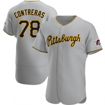 Men's Roansy Contreras Pittsburgh Gray Authentic Road Baseball Jersey (Unsigned No Brands/Logos)