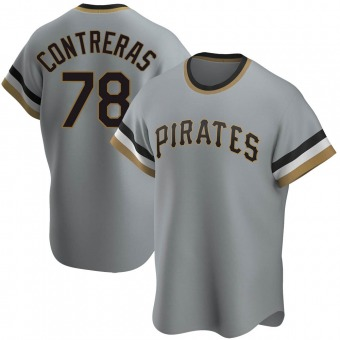 Men's Roansy Contreras Pittsburgh Gray Replica Road Cooperstown Collection Baseball Jersey (Unsigned No Brands/Logos)