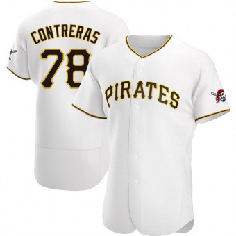 Men's Roansy Contreras Pittsburgh White Authentic Home Baseball Jersey (Unsigned No Brands/Logos)
