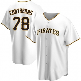 Men's Roansy Contreras Pittsburgh White Replica Home Baseball Jersey (Unsigned No Brands/Logos)