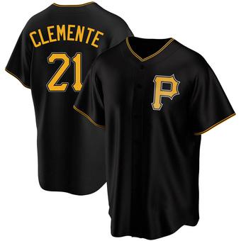 Men's Roberto Clemente Pittsburgh Black Replica Alternate Baseball Jersey (Unsigned No Brands/Logos)