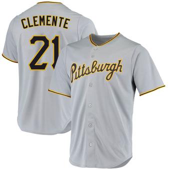 Men's Roberto Clemente Pittsburgh Gray Replica Road Baseball Jersey (Unsigned No Brands/Logos)