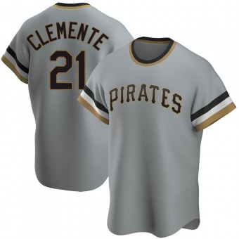 Men's Roberto Clemente Pittsburgh Gray Replica Road Cooperstown Collection Baseball Jersey (Unsigned No Brands/Logos)