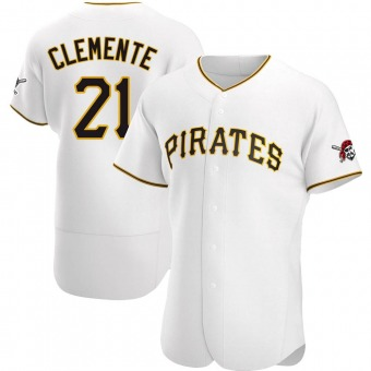 Men's Roberto Clemente Pittsburgh White Authentic Home Baseball Jersey (Unsigned No Brands/Logos)