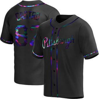 Men's Rodolfo Castro Pittsburgh Black Holographic Replica Alternate Baseball Jersey (Unsigned No Brands/Logos)