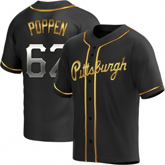 Men's Sean Poppen Pittsburgh Black Golden Replica Alternate Baseball Jersey (Unsigned No Brands/Logos)