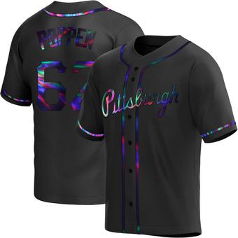 Men's Sean Poppen Pittsburgh Black Holographic Replica Alternate Baseball Jersey (Unsigned No Brands/Logos)