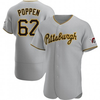 Men's Sean Poppen Pittsburgh Gray Authentic Road Baseball Jersey (Unsigned No Brands/Logos)
