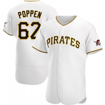 Men's Sean Poppen Pittsburgh White Authentic Home Baseball Jersey (Unsigned No Brands/Logos)