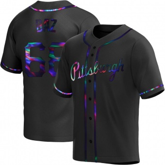 Men's Shane Baz Pittsburgh Black Holographic Replica Alternate Baseball Jersey (Unsigned No Brands/Logos)