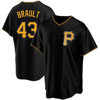 Men's Steven Brault Pittsburgh Black Replica Alternate Baseball Jersey (Unsigned No Brands/Logos)