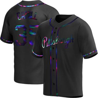 Men's Trevor Cahill Pittsburgh Black Holographic Replica Alternate Baseball Jersey (Unsigned No Brands/Logos)