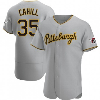 Men's Trevor Cahill Pittsburgh Gray Authentic Road Baseball Jersey (Unsigned No Brands/Logos)