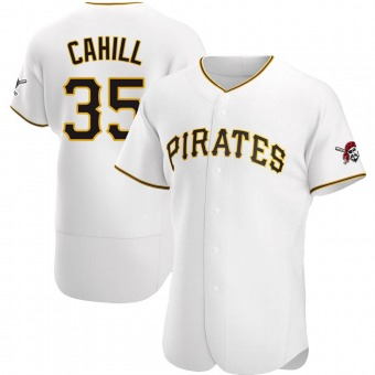 Men's Trevor Cahill Pittsburgh White Authentic Home Baseball Jersey (Unsigned No Brands/Logos)