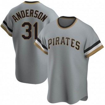 Men's Tyler Anderson Pittsburgh Gray Replica Road Cooperstown Collection Baseball Jersey (Unsigned No Brands/Logos)
