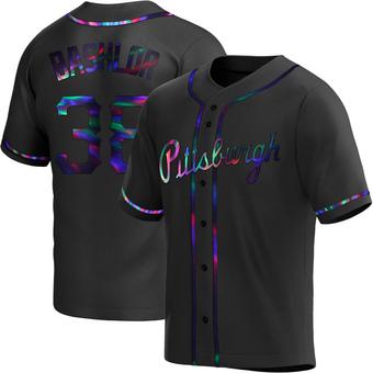 Men's Tyler Bashlor Pittsburgh Black Holographic Replica Alternate Baseball Jersey (Unsigned No Brands/Logos)