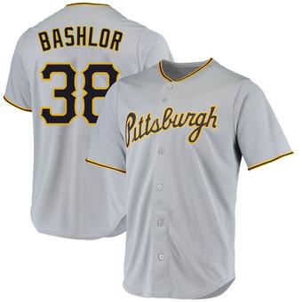 Men's Tyler Bashlor Pittsburgh Gray Replica Road Baseball Jersey (Unsigned No Brands/Logos)