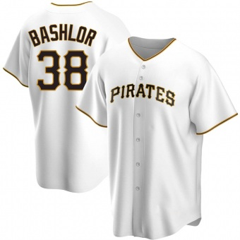 Men's Tyler Bashlor Pittsburgh White Replica Home Baseball Jersey (Unsigned No Brands/Logos)