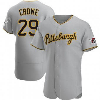 Men's Wil Crowe Pittsburgh Gray Authentic Road Baseball Jersey (Unsigned No Brands/Logos)