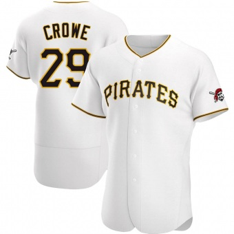 Men's Wil Crowe Pittsburgh White Authentic Home Baseball Jersey (Unsigned No Brands/Logos)