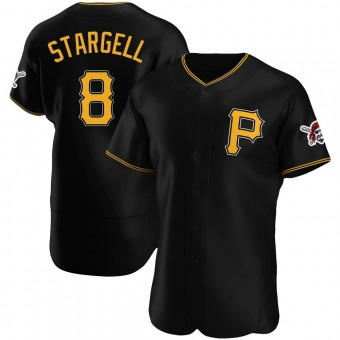 Men's Willie Stargell Pittsburgh Black Authentic Alternate Baseball Jersey (Unsigned No Brands/Logos)