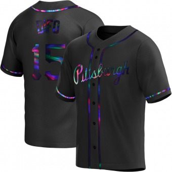 Men's Wilmer Difo Pittsburgh Black Holographic Replica Alternate Baseball Jersey (Unsigned No Brands/Logos)