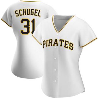 Women's A.J. Schugel Pittsburgh White Replica Home Baseball Jersey (Unsigned No Brands/Logos)