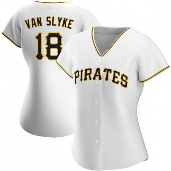 Women's Andy Van Slyke Pittsburgh White Authentic Home Baseball Jersey (Unsigned No Brands/Logos)