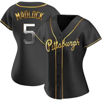 Women's Bill Madlock Pittsburgh Black Golden Replica Alternate Baseball Jersey (Unsigned No Brands/Logos)