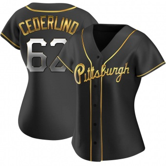 Women's Blake Cederlind Pittsburgh Black Golden Replica Alternate Baseball Jersey (Unsigned No Brands/Logos)
