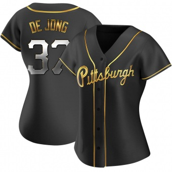 Women's Chase De Jong Pittsburgh Black Golden Replica Alternate Baseball Jersey (Unsigned No Brands/Logos)