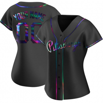 Women's Custom Pittsburgh Black Holographic Replica Alternate Baseball Jersey (Unsigned No Brands/Logos)
