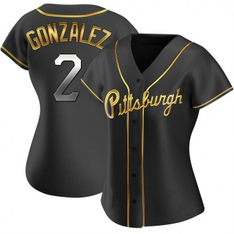 Women's Erik Gonzalez Pittsburgh Black Golden Replica Alternate Baseball Jersey (Unsigned No Brands/Logos)