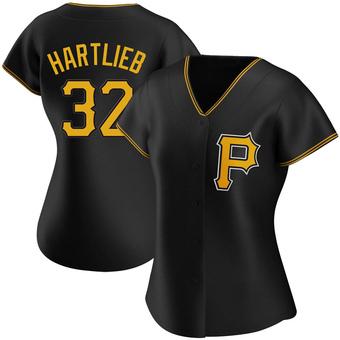 Women's Geoff Hartlieb Pittsburgh Black Replica Alternate Baseball Jersey (Unsigned No Brands/Logos)