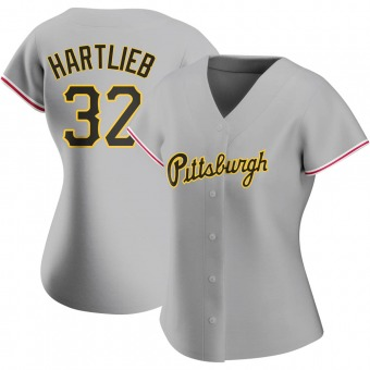 Women's Geoff Hartlieb Pittsburgh Gray Authentic Road Baseball Jersey (Unsigned No Brands/Logos)