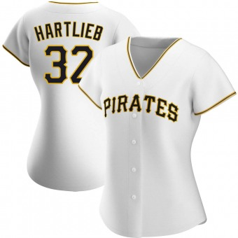 Women's Geoff Hartlieb Pittsburgh White Authentic Home Baseball Jersey (Unsigned No Brands/Logos)