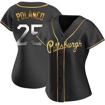 Women's Gregory Polanco Pittsburgh Black Golden Replica Alternate Baseball Jersey (Unsigned No Brands/Logos)